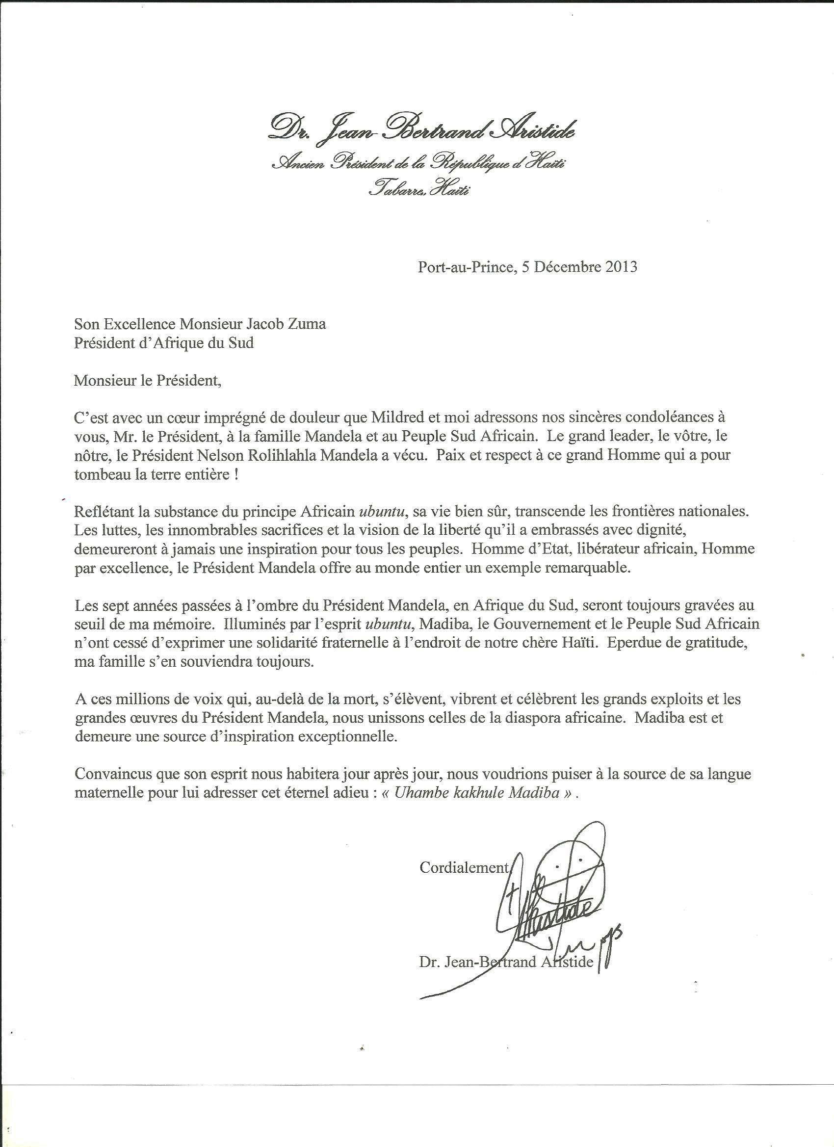 Mandela lettre d'Aristide au président Zuma